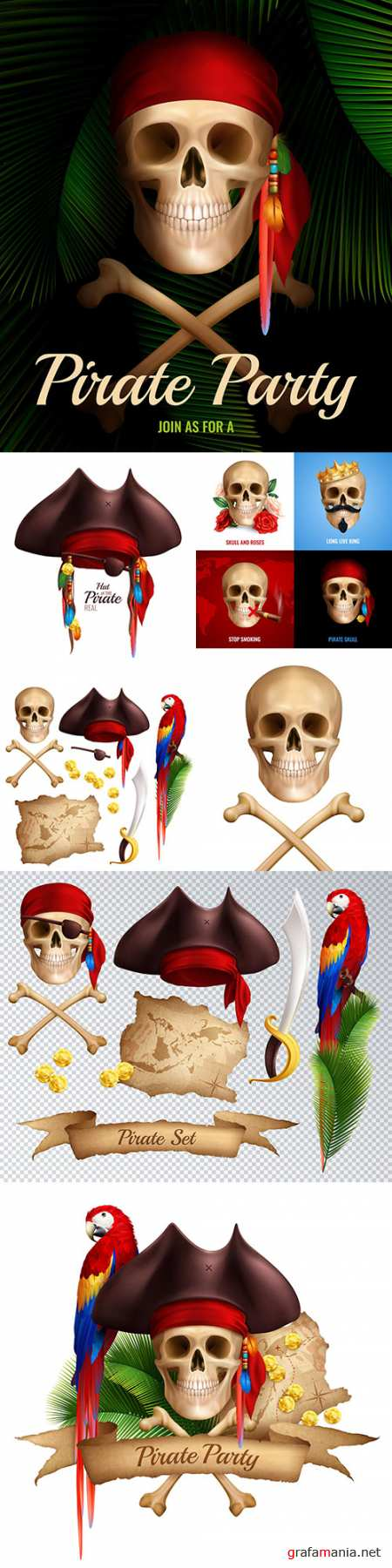 Pirate party and design elements realistic illustrations