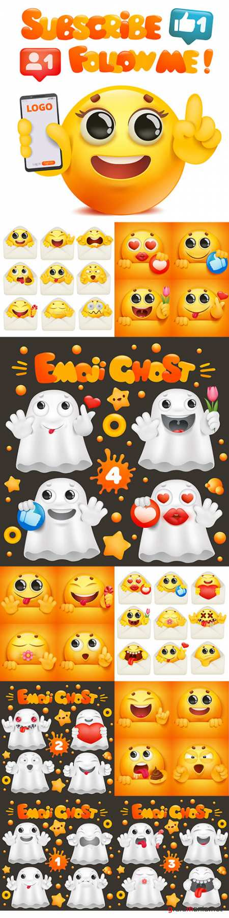 Yellow smiley and cute ghost in various emotions and situations