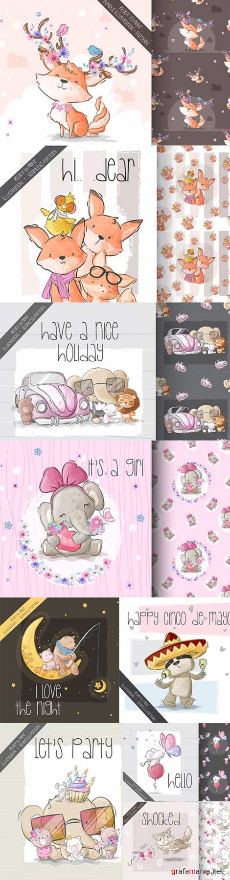 Cute cartoon animals and seamless background 3