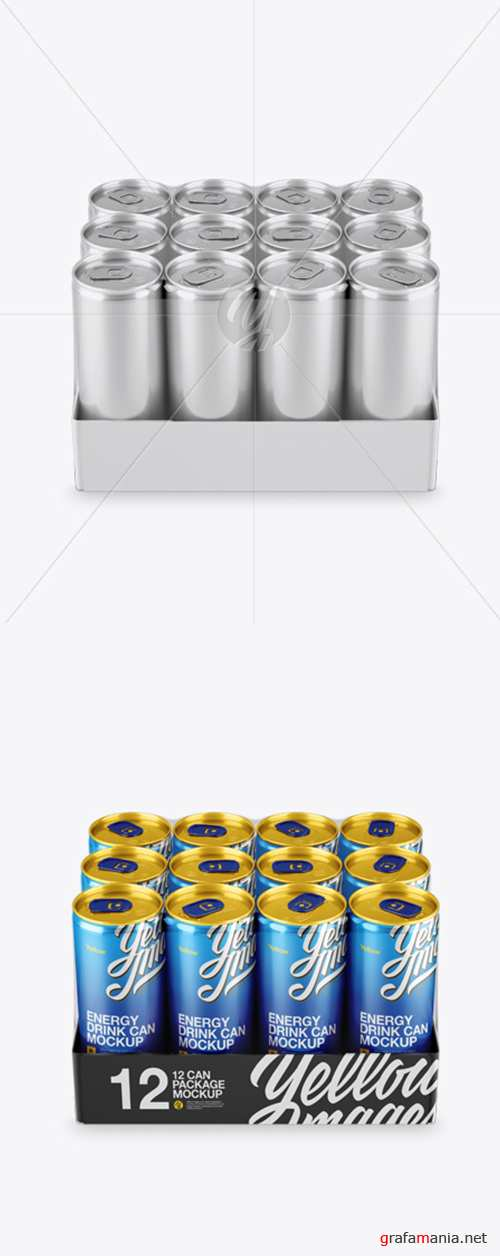 Transparent Pack with 12 Aluminium Cans Mockup (High-Angle Shot) 20362 TIF