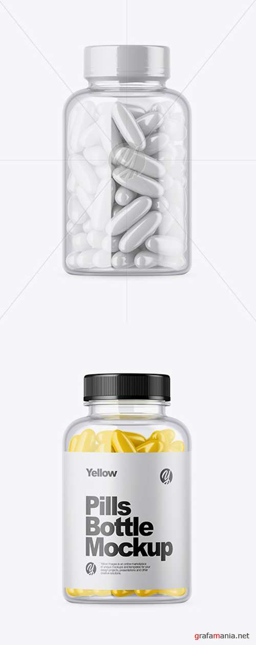 Clear Bottle with Pills Mockup 33892 TIF