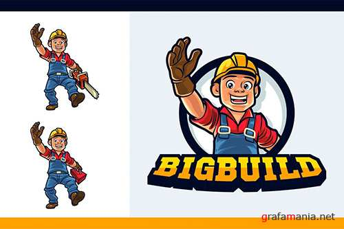 Cartoon Friendly Logger Mascot Character Logo