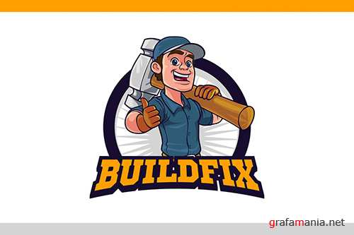 Cartoon Repairman Holding Big Hammer Mascot Logo