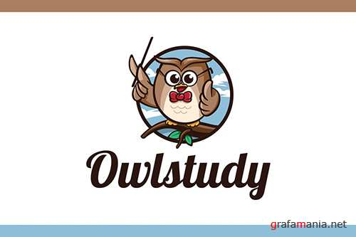 Cartoon Smart Owl Mascot Character Logo