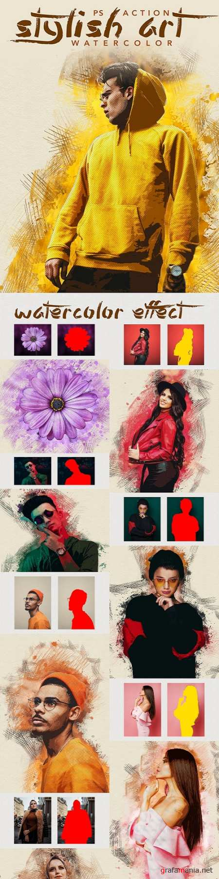 Stylish Art - Watercolor Photoshop Action 25607159