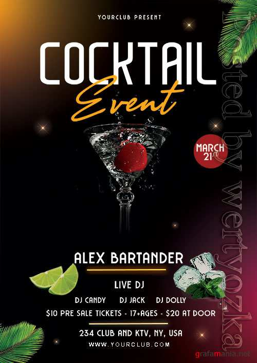 Cocktail Event - Premium flyer psd template