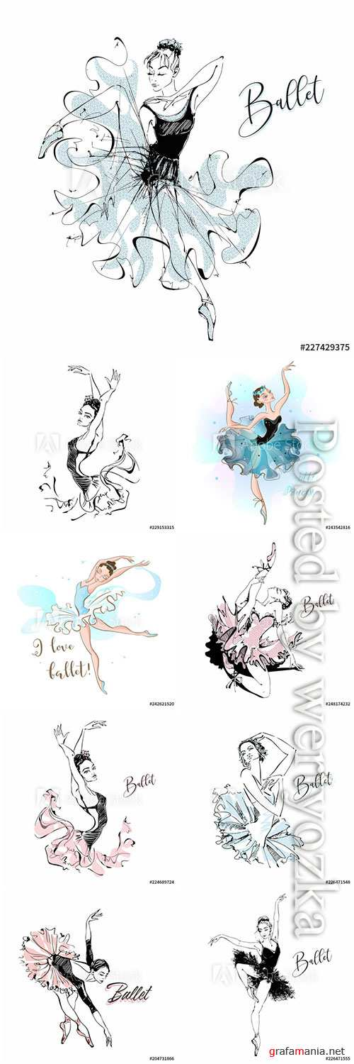 Ballerina, ballet, dancing girl vector illustrations