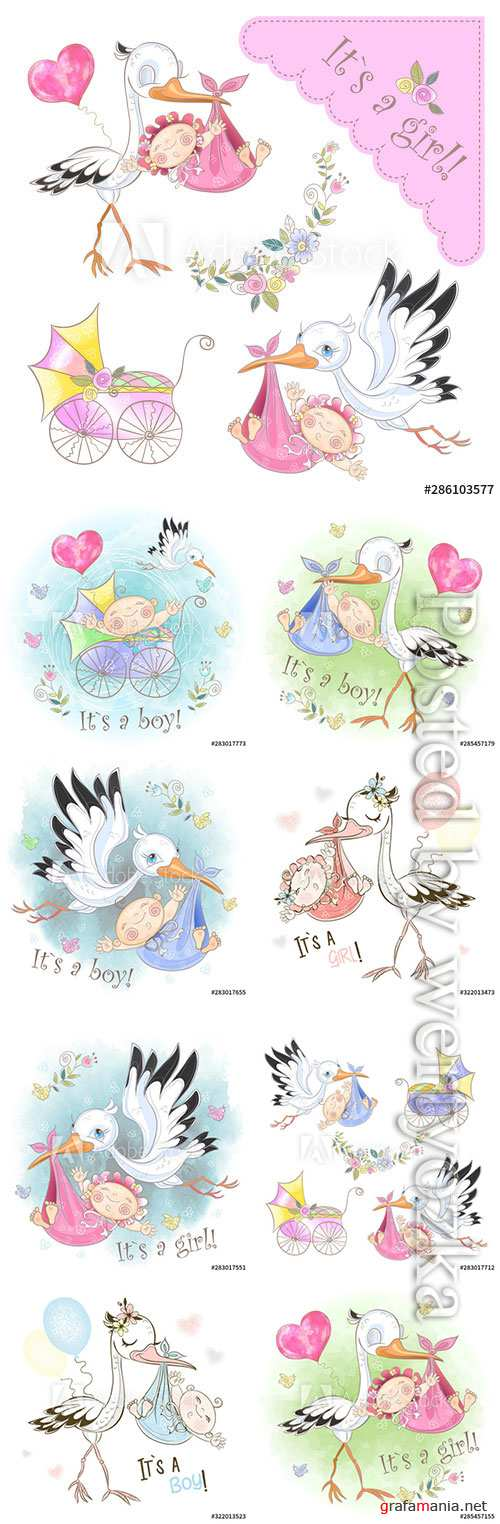 Stork with baby vector illustrations