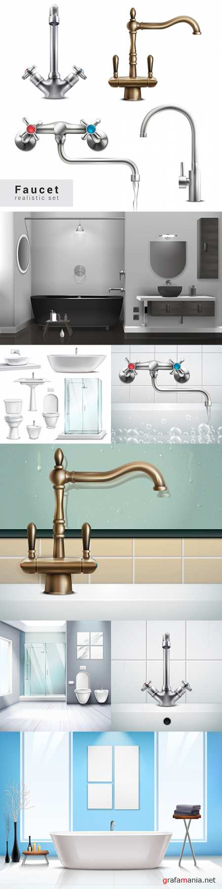 Bathroom interior and water mixers realistic illustrations