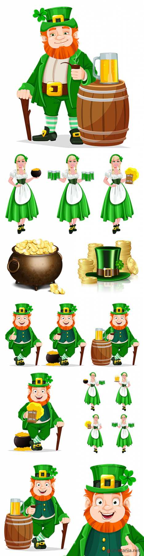 St. Patrick's Day party design vector illustrations 9