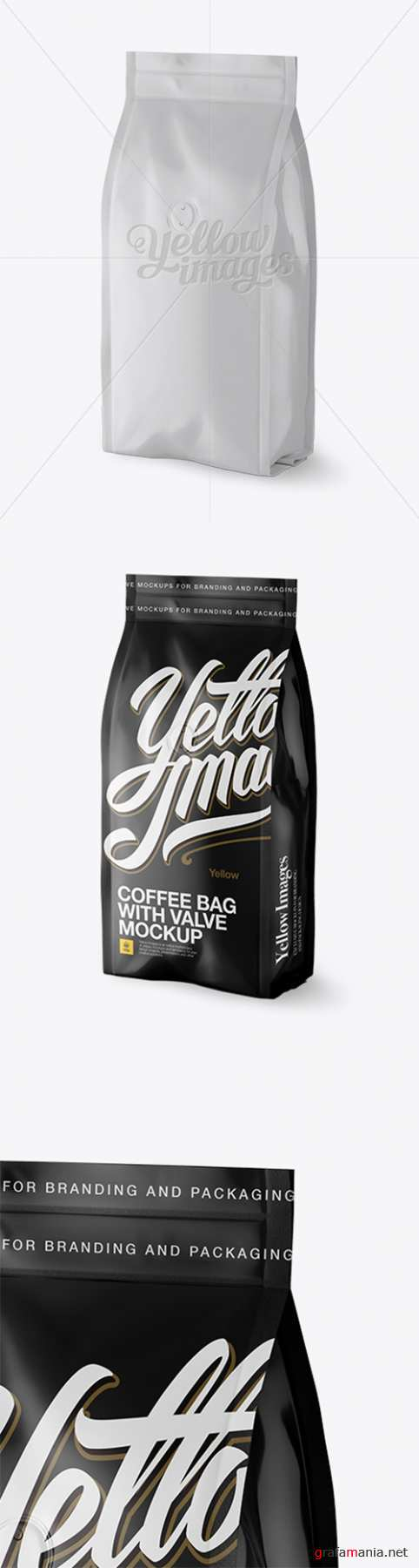 Matte Coffee Bag With Valve Mockup - Halfside View 16867