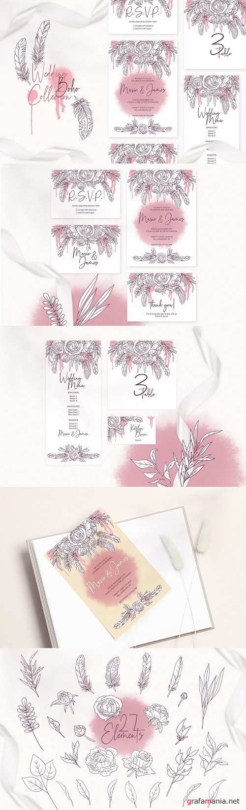 Boho Wedding Invitation Cards. Floral Printable Template - 457708