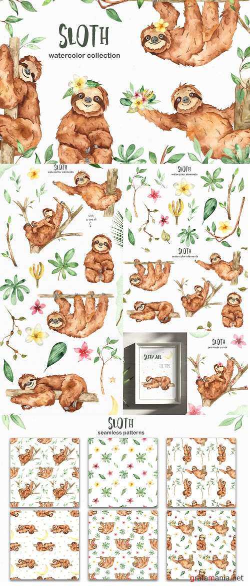 Cute sloth watercolor collection - 4557076