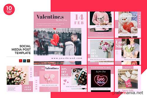 Valentine Day Sale Social Media Kit PSD and AI