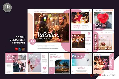 Valentine Social Media Kit PSD and AI Template