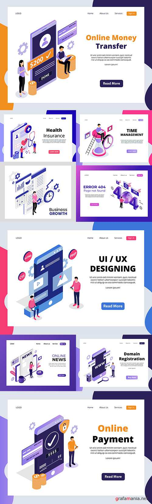 Isometric landing page online technology and payments