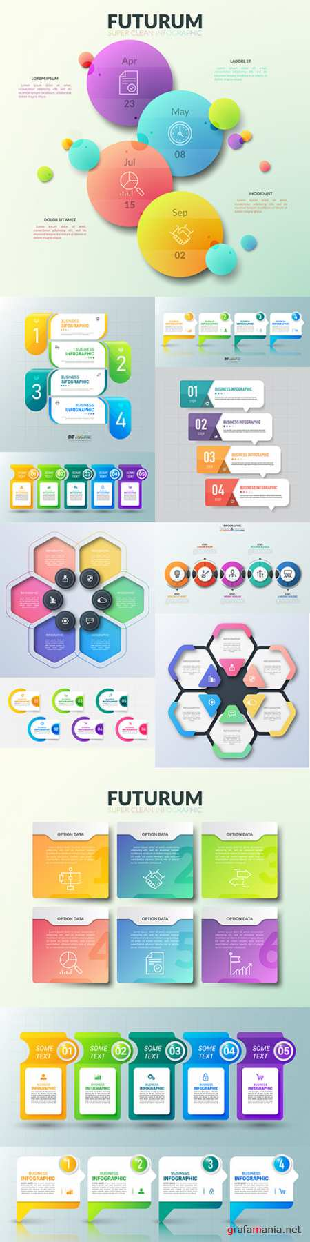 Business infographics options elements collection 138