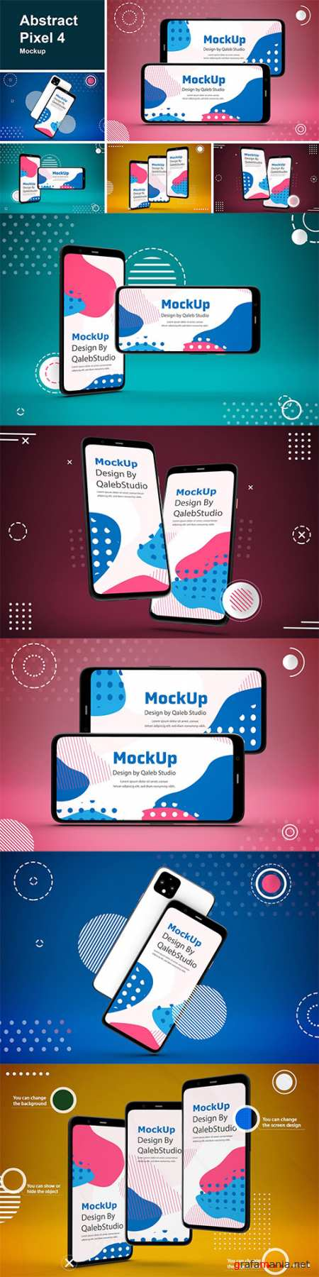 Abstract Pixel 4 mockup PSD