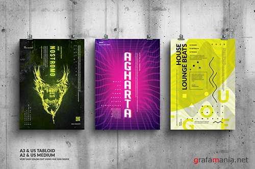 Party Music Events Big Posters Design Bundle PSD