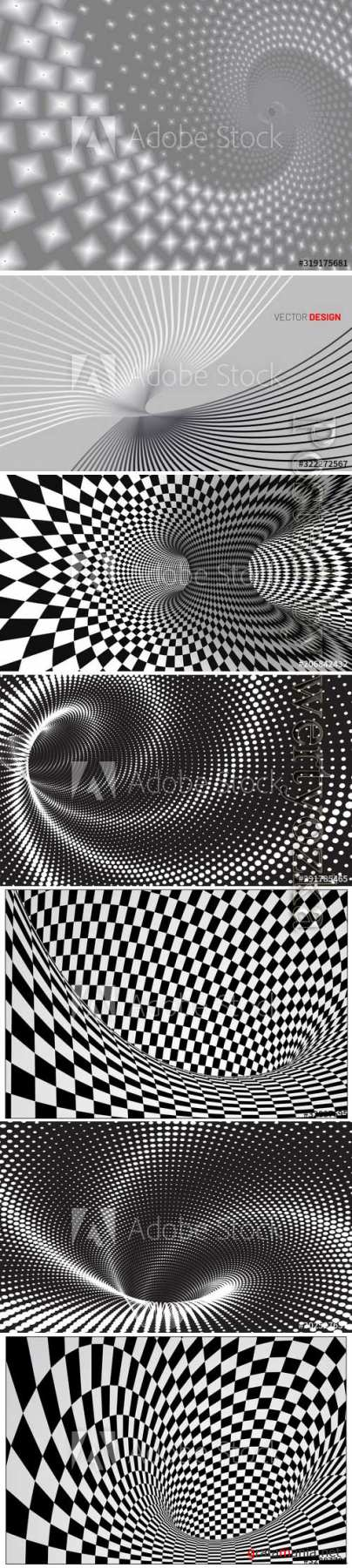 Dotted halftone vector spiral pattern, squares space view