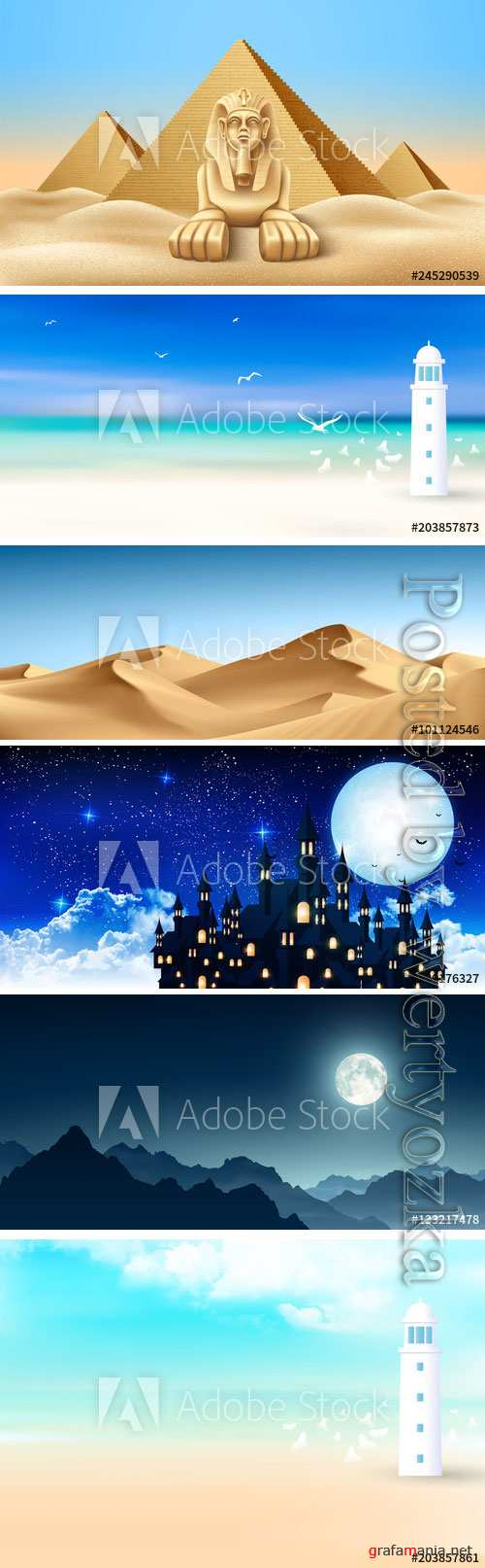 Backgrounds and landscapes in vector
