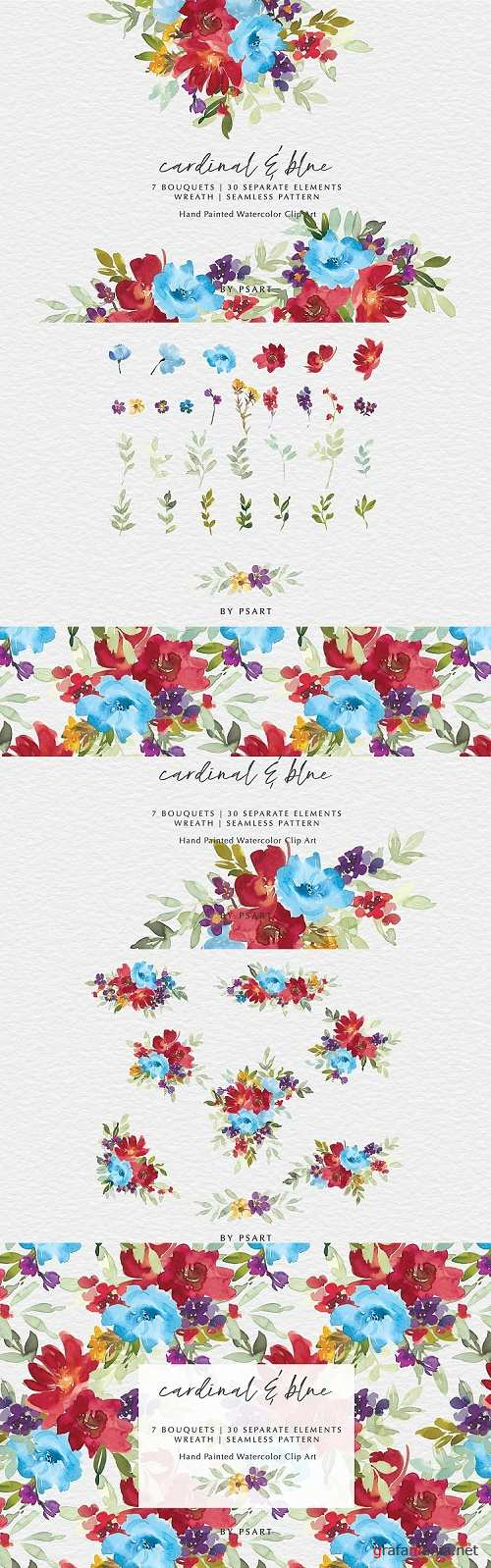 Cardinal & Blue Watercolor Floral Clipart Collection - 465776