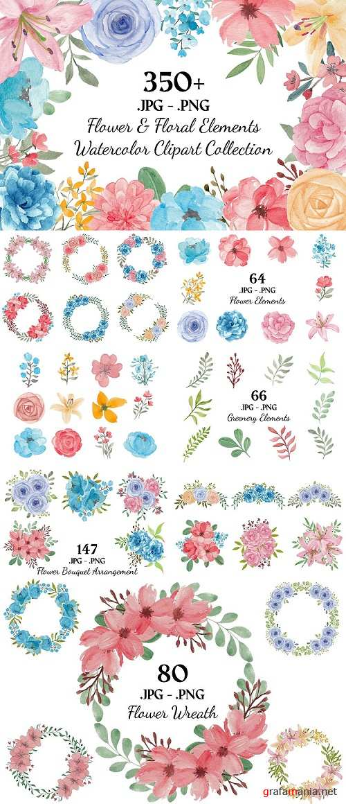 357 Flower and Floral Watercolor Illustration Clip Art  - 471027