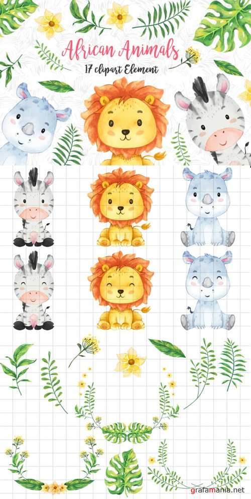African Animals Clipart Set
