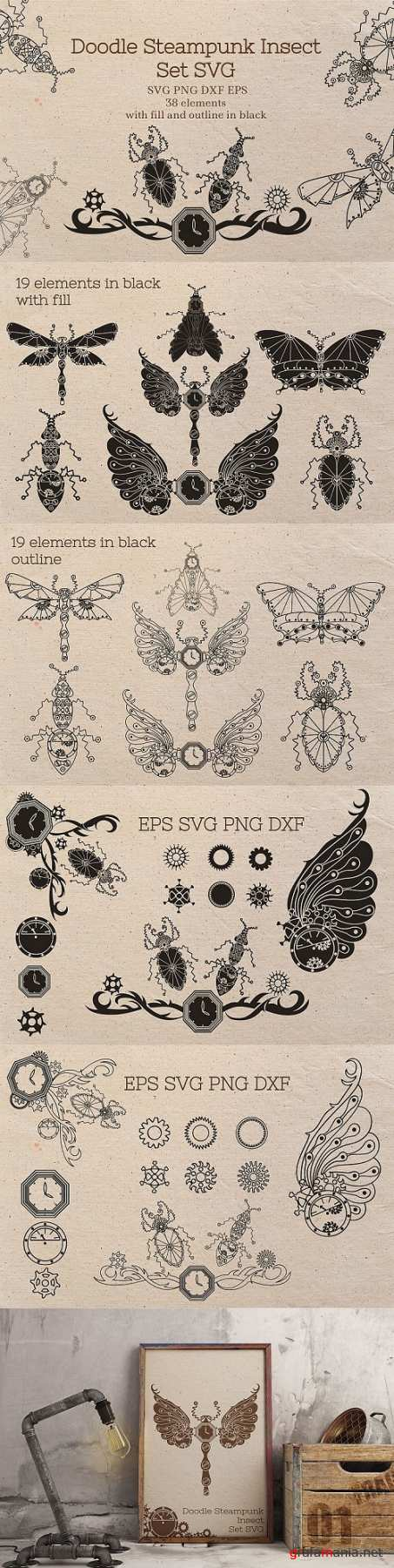 Doodle Steampunk Insect Set SVG  - 472464