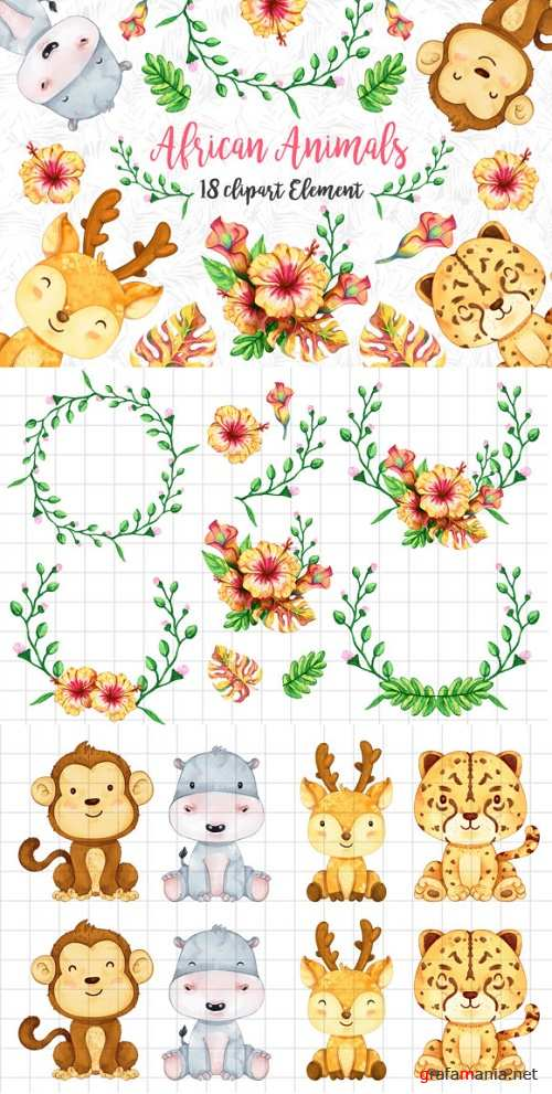 African Animals Clipart Set 3