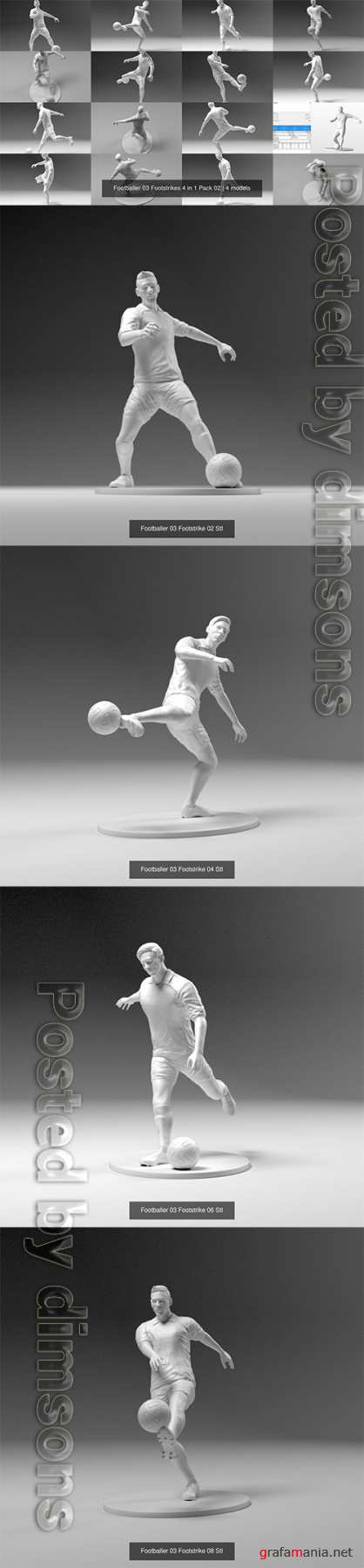 Footballer 03 Footstrikes 4 in 1 Pack 02 3D Model Collection