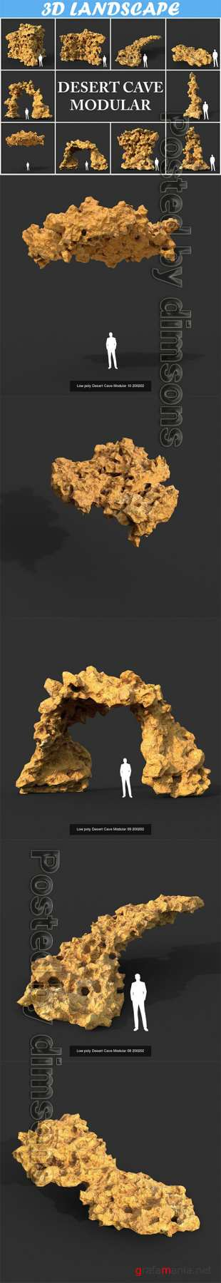 Low poly Desert Cave Modular Pack 200202 3D Model Collection