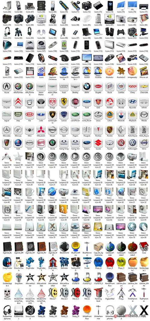 Large Set of Diverse Icons
