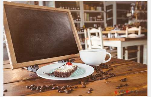 Chalkboard Tablet with Dessert and Coffee Mockup 130756161