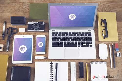 Laptop, Tablet, and Smartphone with Many Objects on a Wooden Desk Mockup 124775648