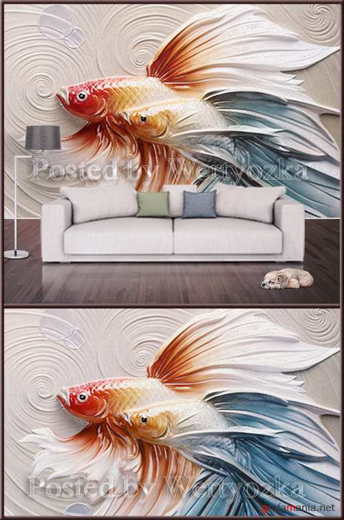 3D psd background wall gold fish