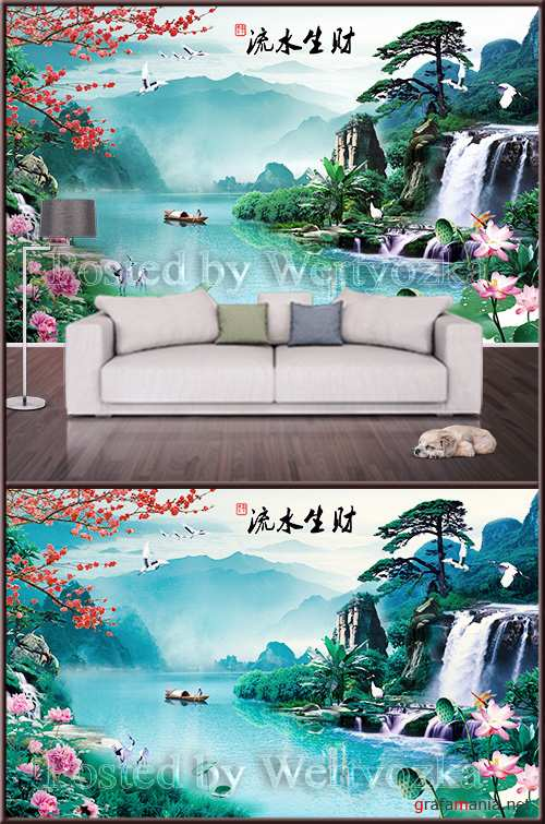 3D psd background wall landscape river