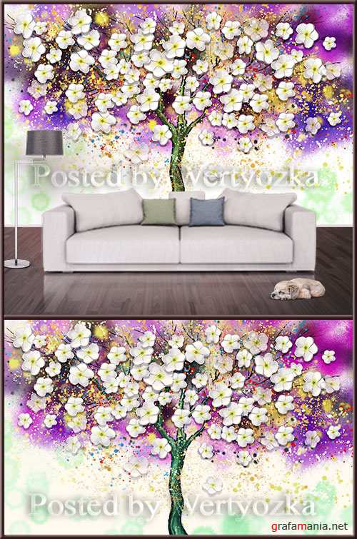 3D psd background wall colorful tree with flowers