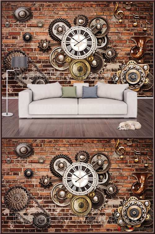 3D psd background wall Bar mechanic tooling wall