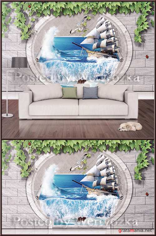 3D psd background wall sailboat in ocean