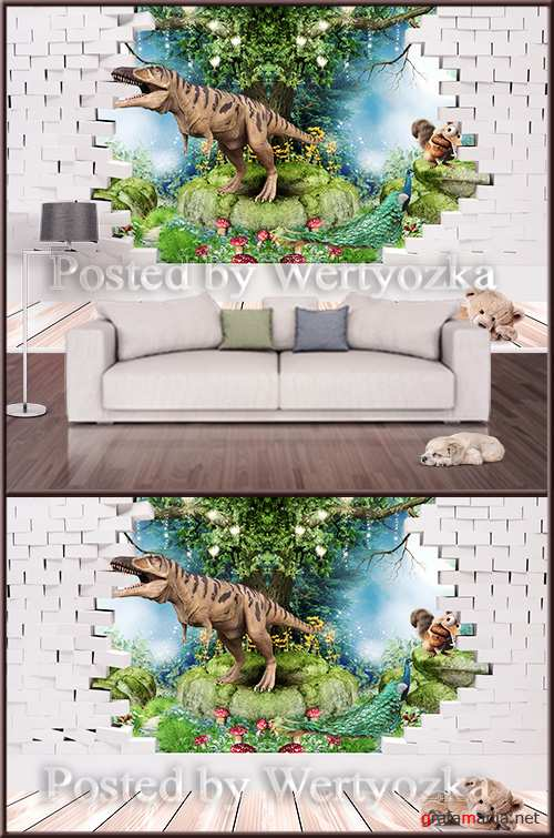 3D psd background wall dinosaur