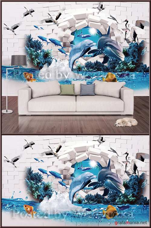 3D psd background wall dolphins fishes airists