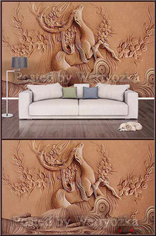 3D psd background wall modern embossed golden elk deer