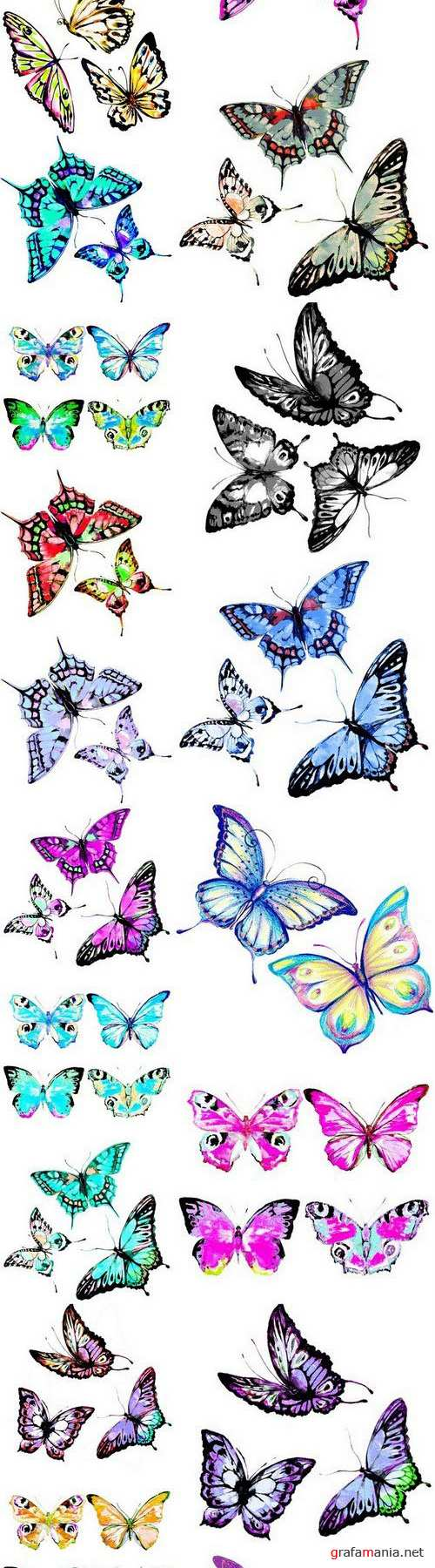 Beautiful watercolor butterflies - 20xUHQ JPEG