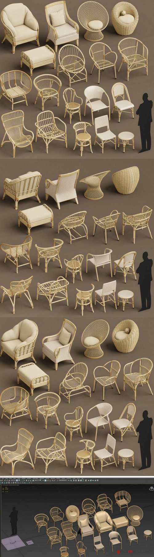 Cgtrader – Wicker chair set A 3D model 3D model