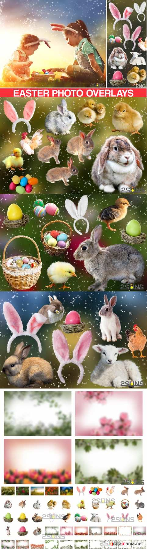 50 Easter photo overlays, spring photo overlay clipart png - 508346