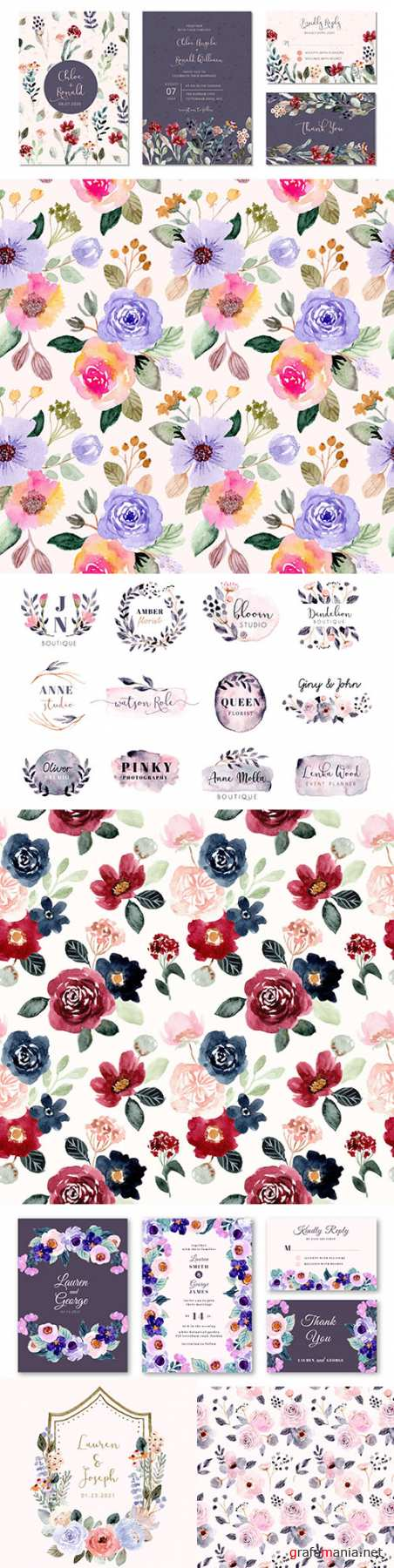 Wedding invitation and floral watercolor pattern