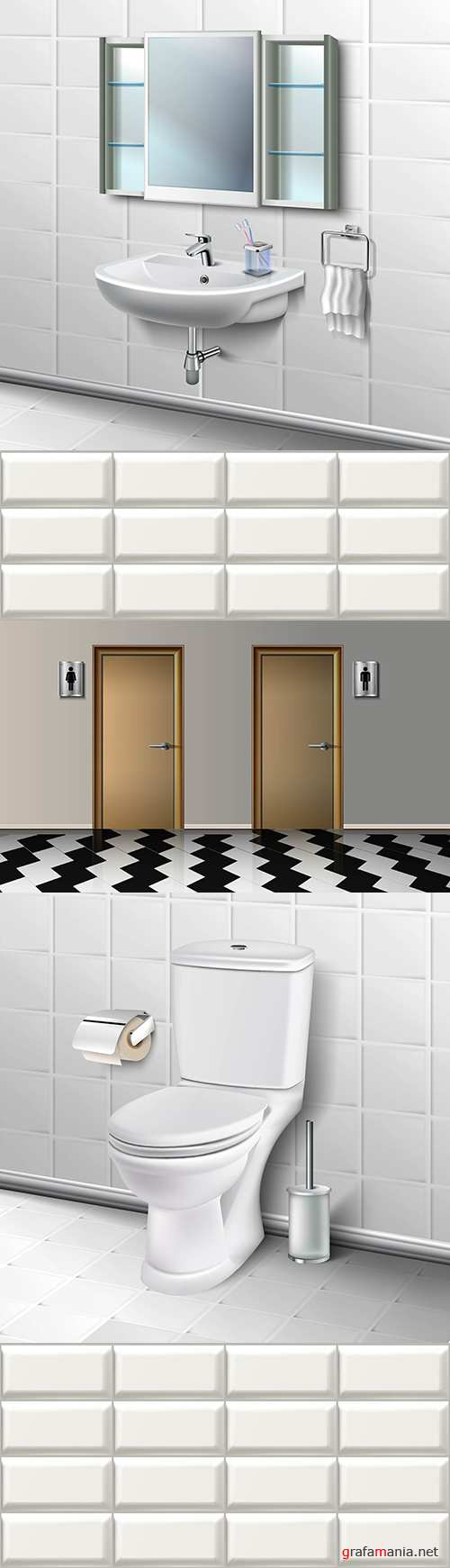 Bathroom and toilet with toilet paper interior illustration