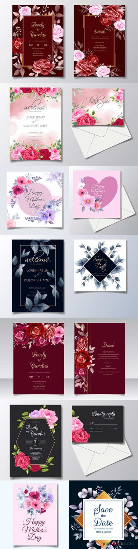 Happy mother's day and wedding invitation design