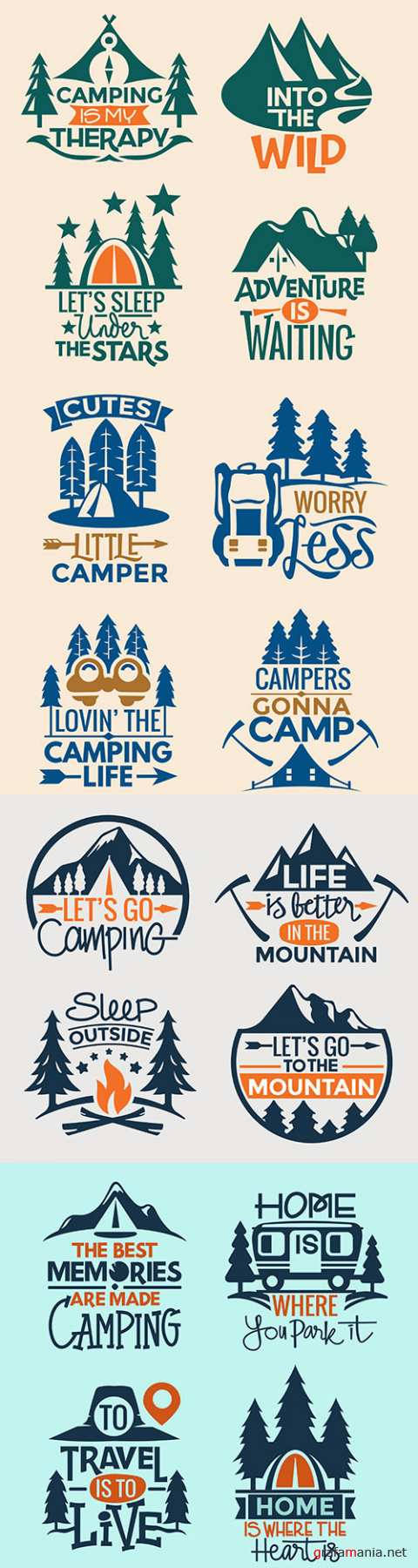 Set of quotes and logos camping and recreation in nature